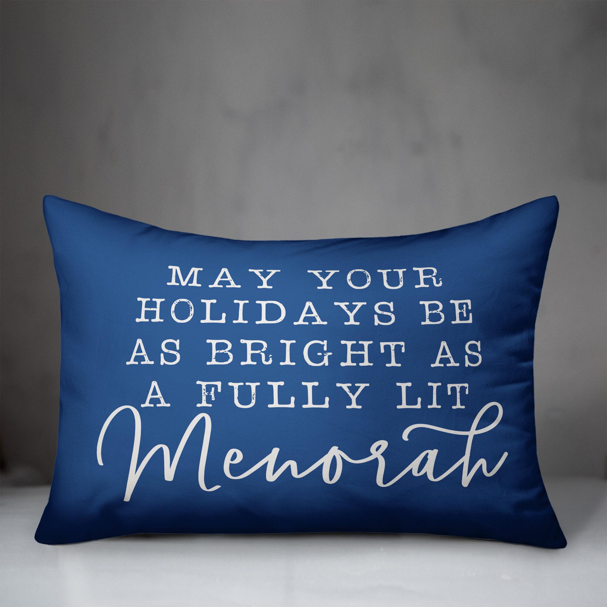 The Holiday Aisle Kent Fully Lit Menorah Lumbar Pillow Wayfair