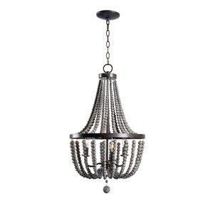 louis wood bead 3light mini chandelier - Wood Bead Chandelier