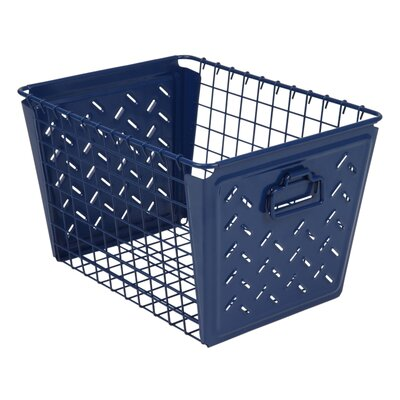 Turn on the Brights Metal Basket Color: Navy Blue