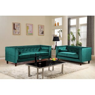 Kittleson Classic Nailhead Chesterfield 2 Piece Living Room Set By Everly Quinn