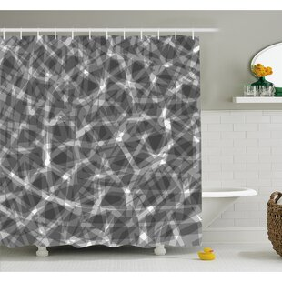 Grunge Haze Digital Display with Fractal Pieces Parts Lines Contemporary Bents Shower Curtain Set