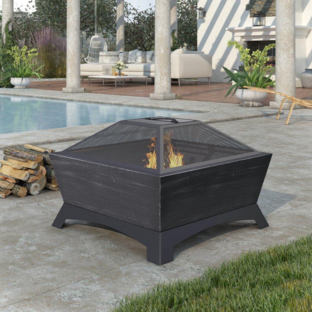 17 Stories Wiener Steel Wood Burning Fire Pit Wayfair