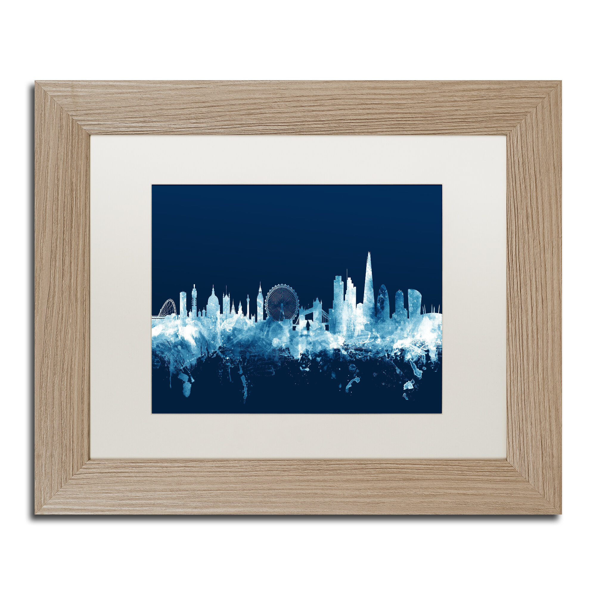 Trademark Art London England Skyline Navy Framed Graphic Art Wayfair