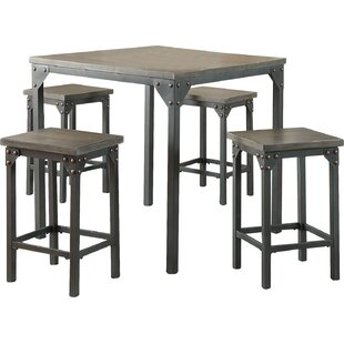 5 Piece Counter Height Solid Wood Dining Set Infini Furnishings