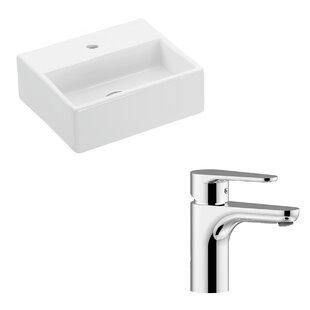 WS Bath Collections Quattro Ceramic Ceramic Rectangular Vessel Bathroom Sink with Faucet
