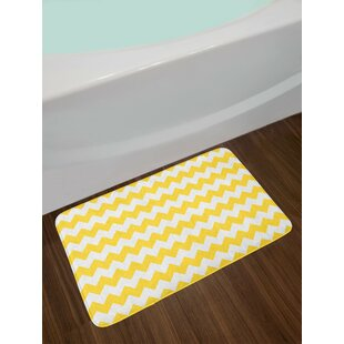 Old Earth Yellow White Yellow Chevron Bath Rug by East Urban Home Bargain