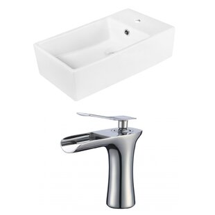 Read Reviews Above Counter Ceramic Rectangular Vessel Bathroom Sink with Faucet ByRoyal Purple Bath Kitchen