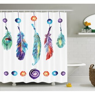 Best Reviews Indian Feather Shower Curtain By East Urban Home