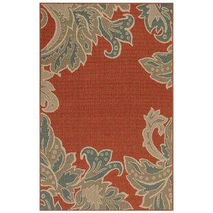 Natoli Ornamental Leaf Red Indoor/Outdoor Area Rug