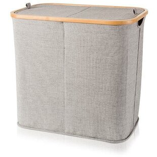 Deals Bamboo Double Split Laundry Hamper with Lid ByUnion Rustic