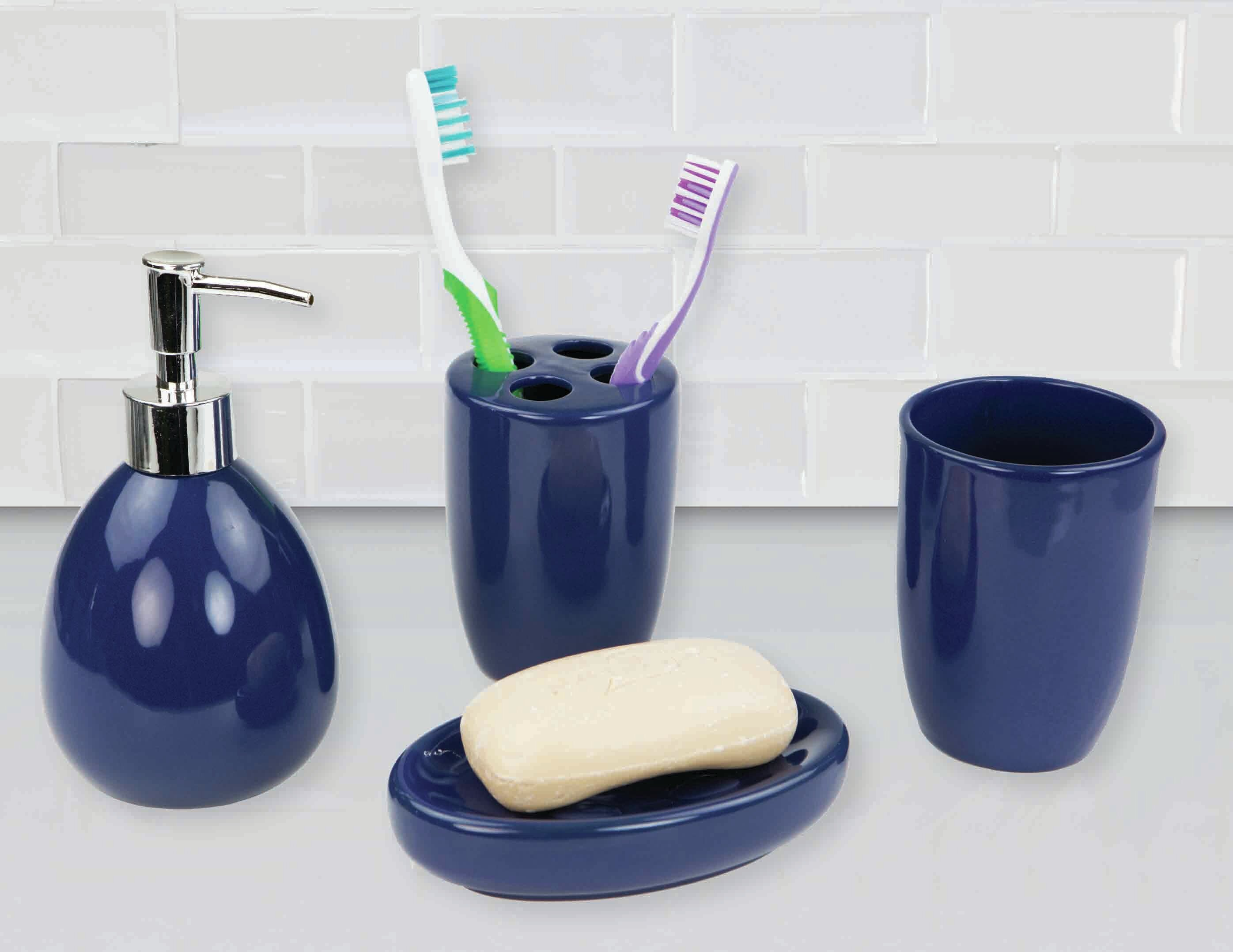 Toothbrush Holder Ready to Ship Pottery Bathroom Caddy 4 Slot Bathroom Container Green and Blue Accessory Tooth Brush Toothpaste