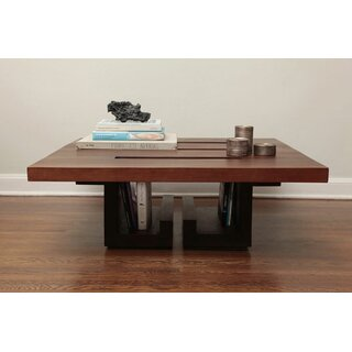 "SQ 38"" Walnut Coffee Table with Tray Top by ARTLESS SKU:CD548553 Price Compare"