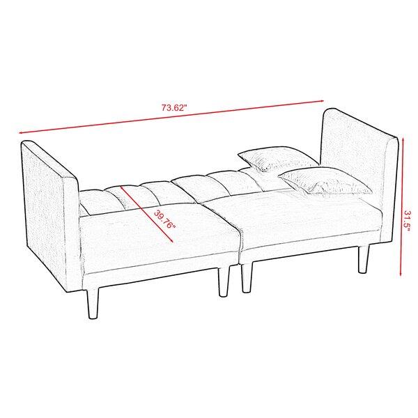 """Vanig 73.62"""" Velvet Tuxedo Arm Sofa Bed"""