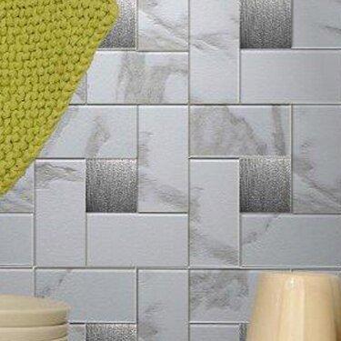 12 X Metal L Stick Mosaic Tile In Faux White Marble