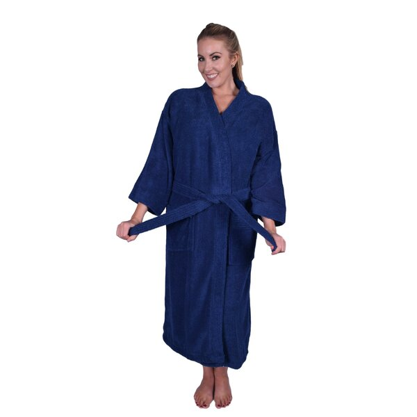 PUFFY COTTON Solid Natural Soft Kimono 100% Cotton Bathrobe  06c209b8e