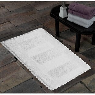 100% Soft Cotton Reversible Crochet Lace Border Bath Rug