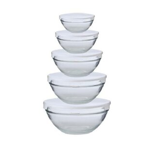 Cuisine Nested Glass Bowl 5 Container Food Storage Set