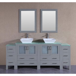 Amelia 84 Double Bathroom Vanity Set with Mirror by Bosconi