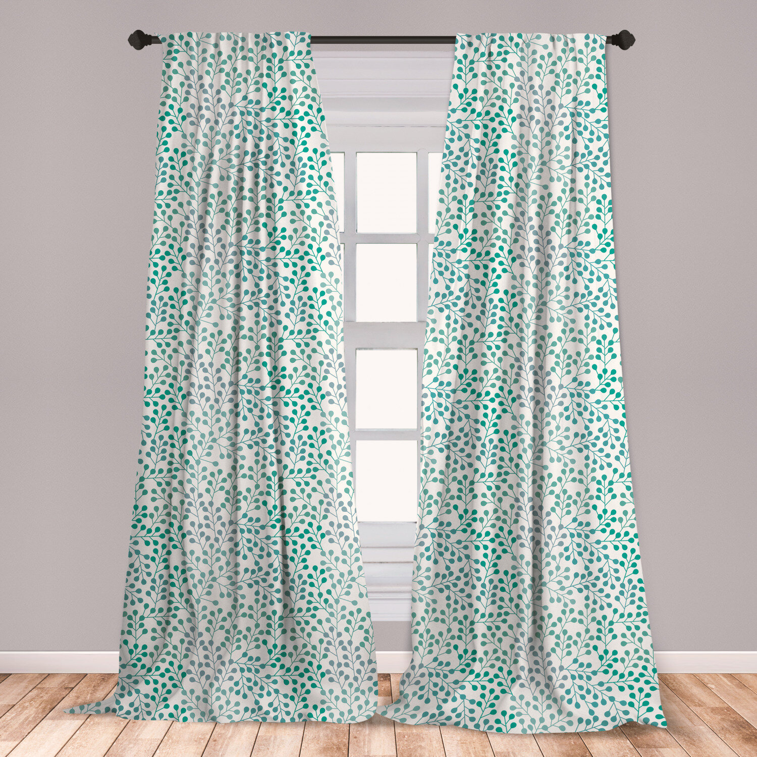 East Urban Home Ancel Leaves 2 Panel Curtain Set Flowering Branches Gentle Spring Season Little Buds Romantic Cottage Ornament Lightweight Window Treatment Living Room Bedroom Decor 56 X 63 Teal Grey Cream,Most Googled Questions About God