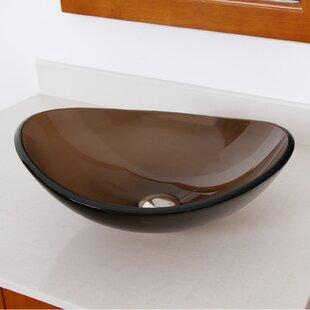 Elite Tempered Glass Oval Vessel Bathroom Sink