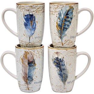 Indigold Feathers 16 Oz Mugs (Set of 4)
