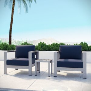 Coline Contemporary 3 Piece Outdoor Patio Aluminum Sectional Chair Set with Cushions
