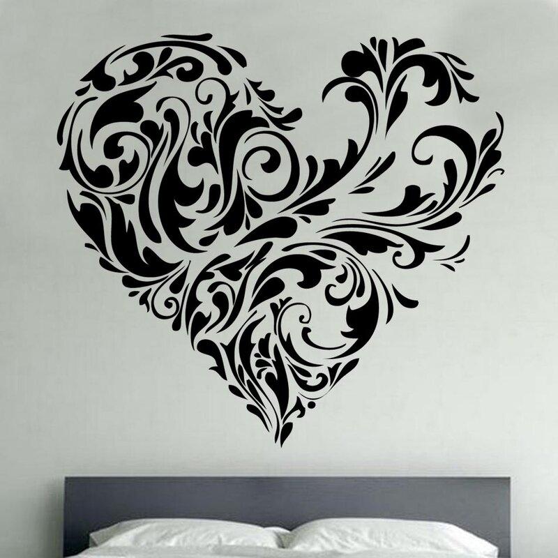 kult kanvas floral love heart decal vinyl wall sticker & reviews
