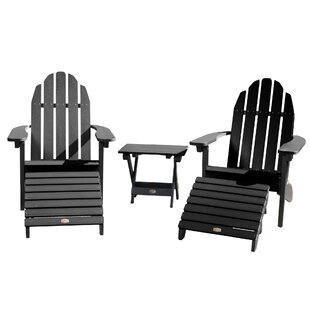 Breakwater Bay Detrick Plastic Adirondack Chair with Ottoman (Set of 5)