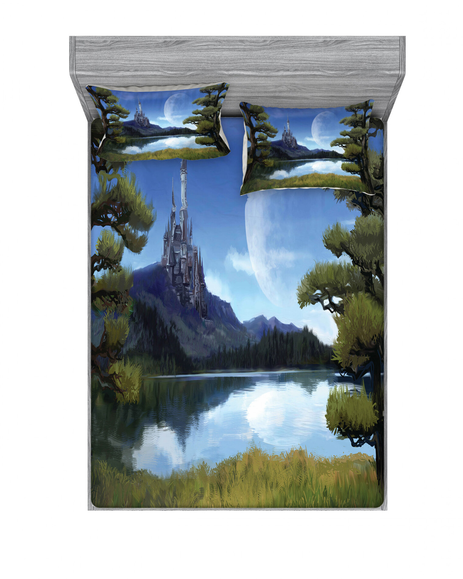 East Urban Home Moon Surreal Scene With Riverside Lake Forest And Medieval Castle On Hill Sheet Set Wayfair