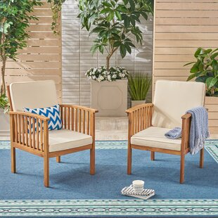 Crosby Outdoor Patio Chair with Cushions (Set of 2)