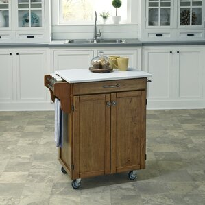 Savorey Kitchen Cart with Quartz Top b..