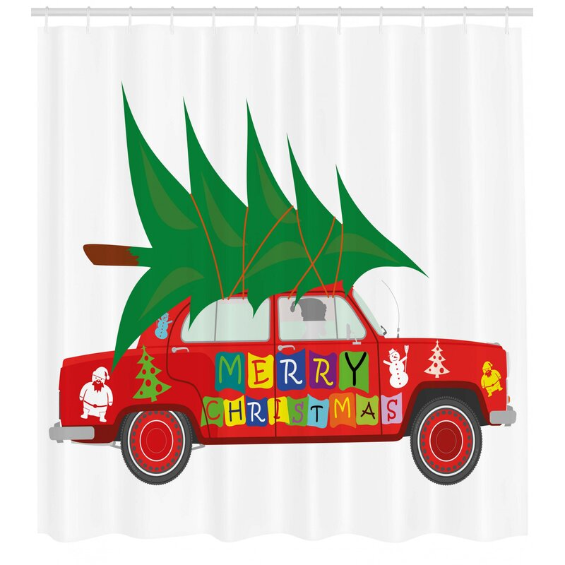 The Holiday Aisle Christmas Car With Xmas Tree Single Shower Curtain Wayfair