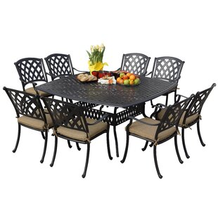 Fleur De Lis Living Campton 9 Piece Metal Frame Dining Set with Cushion