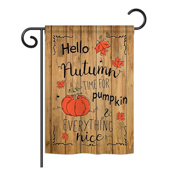 Breeze Decor Hello Autumn Time For Pumpkin Fall 2 Sided Polyester 18 X 13 In Garden Flag