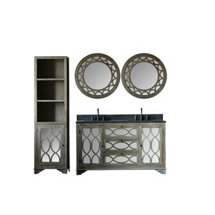 Rosales Solid Elm 60 Double Bathroom Vanity Set with Mirror by Rosecliff Heights