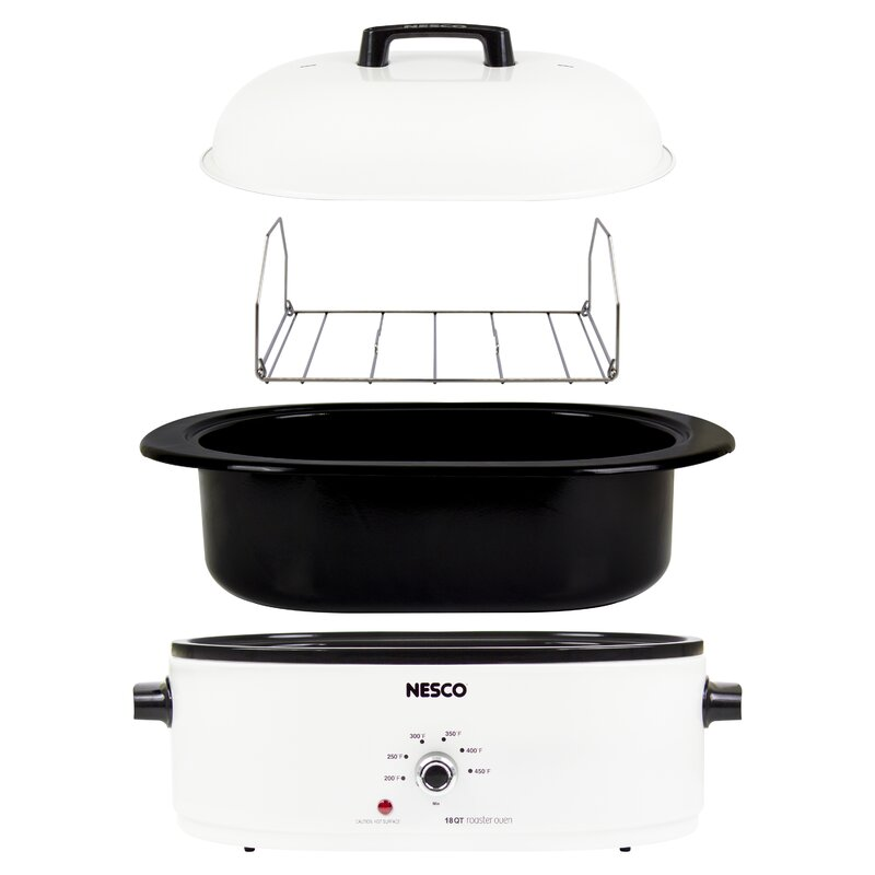 Roaster Oven 18 Qt White Slow Cook Roast Bake Cookware Electric Home Appliance