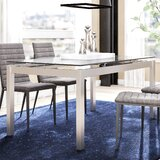 Wafford Tempered Glass Top Extendable Dining Table by Orren Ellis