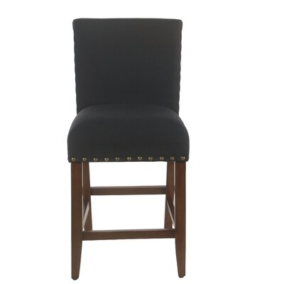 "Arlene 24"" Bar Stool Seat Color: Dark Navy, Frame Color: Mid-tone Walnut by Darby Home Co"