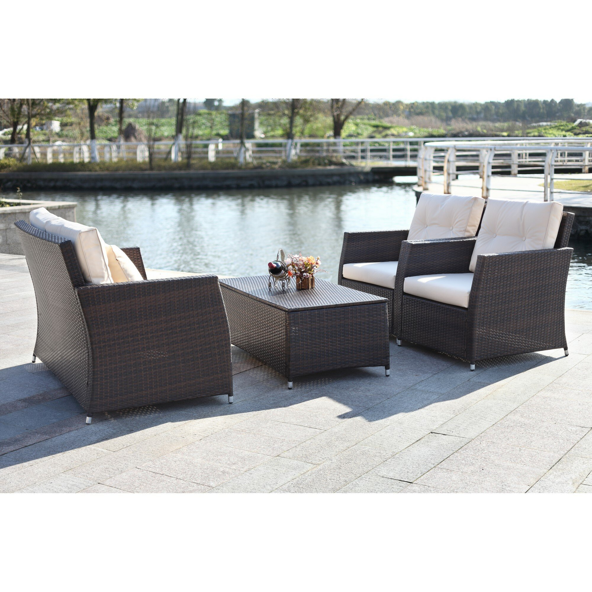 Cove 4-Piece Wicker Outdoor Adjustable Sofa Set with Ottomans
