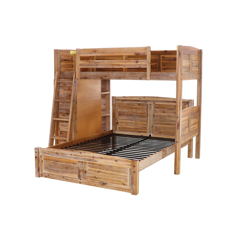 Batista Twin Over Full L Shaped Bunk Bed With Bookcase And Drawers