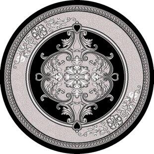 Best Ramsel Power Loomed 3D Handcarved Traditional Oriental Floral Gray/Black Area Rug ByAstoria Grand