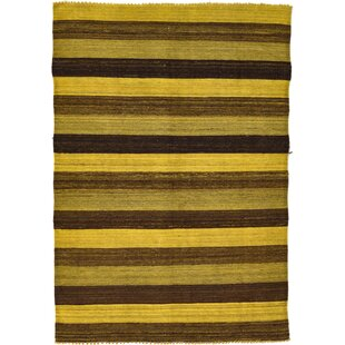 Looking for One-of-a-Kind Warminster Hand-Knotted 4' x 5'9 Wool Brown/Yellow Area Rug By Isabelline
