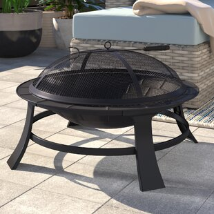 Cathryn Outdoor Steel Charcoal/Wood Burning Fire Pit By Belfry Heating