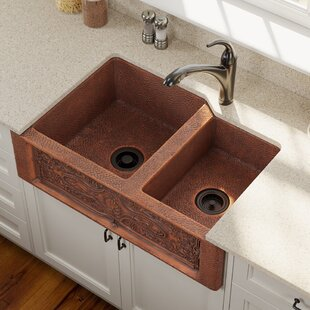 Copper 33 L X 22 W Double Basin Farmhouse A Kitchen Sink With Additional Accessories