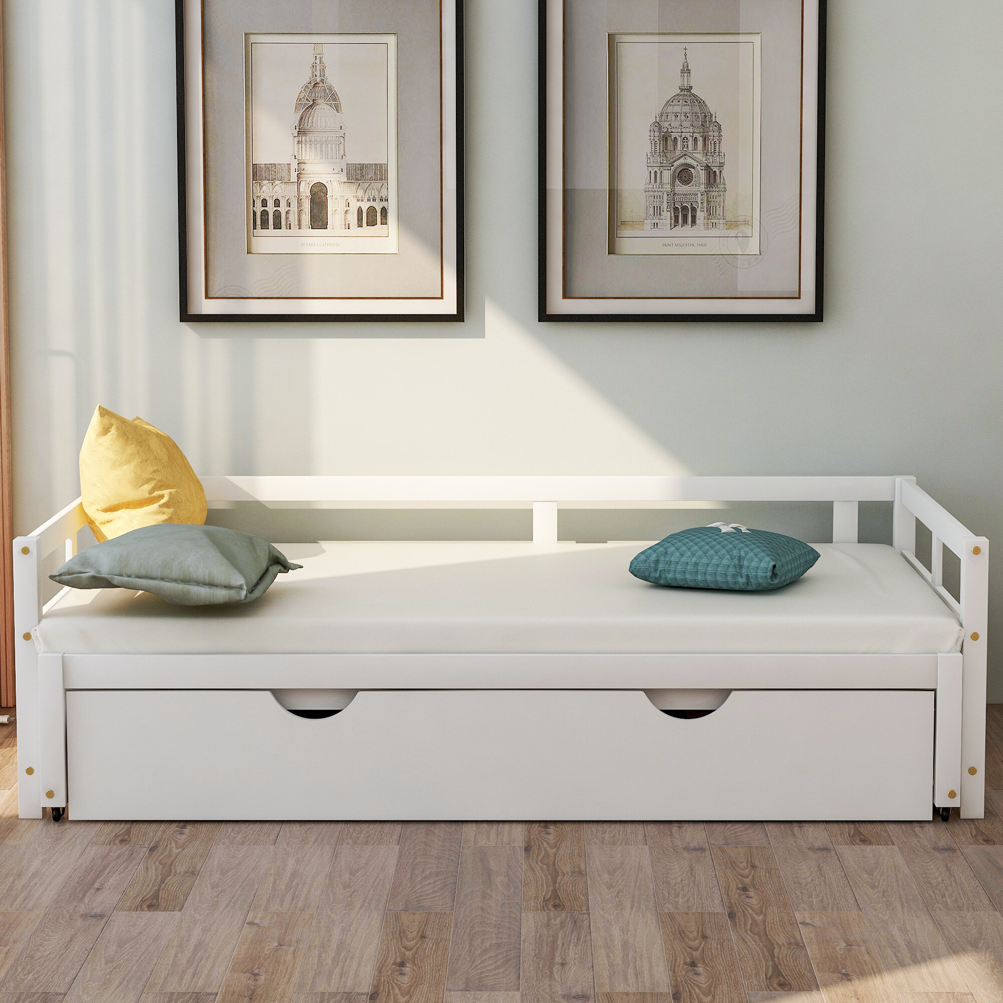 Longshore Tides Dority Twin Solid Wood Daybed With Trundle Wayfair