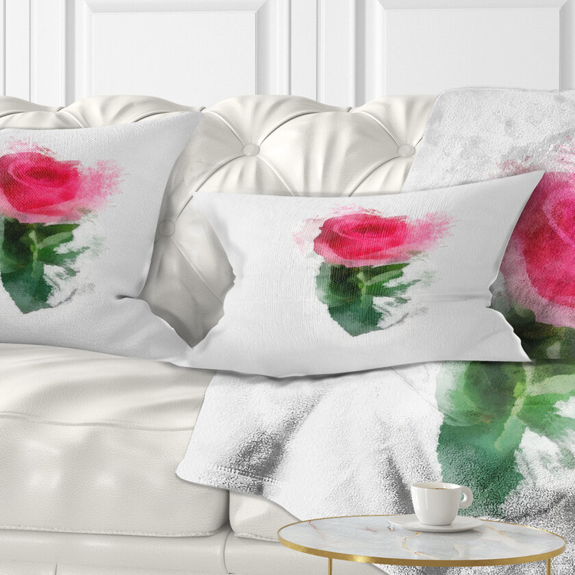 East Urban Home Floral Beautiful Rose With Leaves Drawing Lumbar Pillow Wayfair