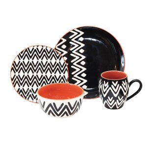 Wavy Lines 16 Piece Dinnerware Set, Service For 4 by Baum Comparison