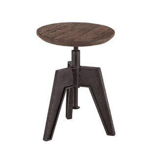 Naquin Mango Wood Adjustable Height Swivel Bar Stool