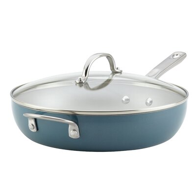 Porcelain Enamel Covered Deep with Helper Handle 12 Non-Stick Skillet with Lid Ayesha Curry Size: 12 Diameter, Color: Twilight Teal