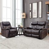 Daro 2 Piece Faux Leather Reclining Living Room Set by Latitude Run®